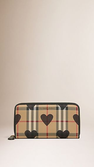 Horseferry Check and Hearts Ziparound Wallet