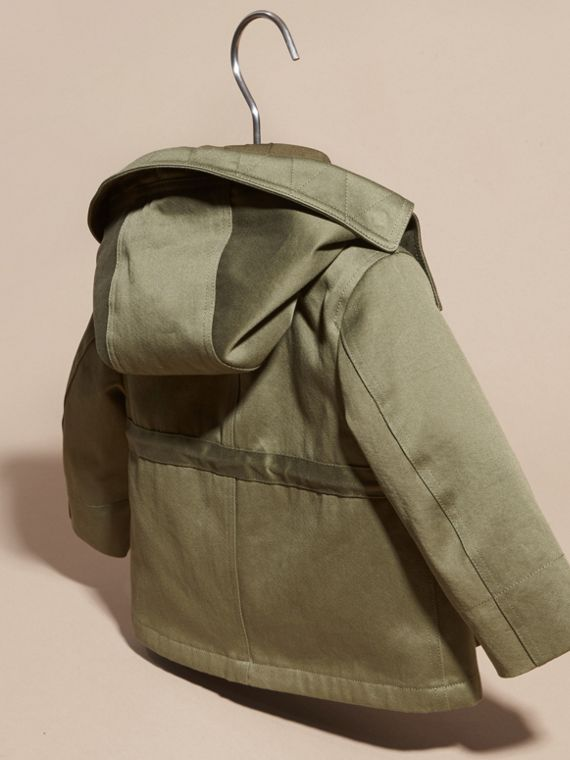 Olive Waxed Cotton Jacket with Detachable Warmer - cell image 3