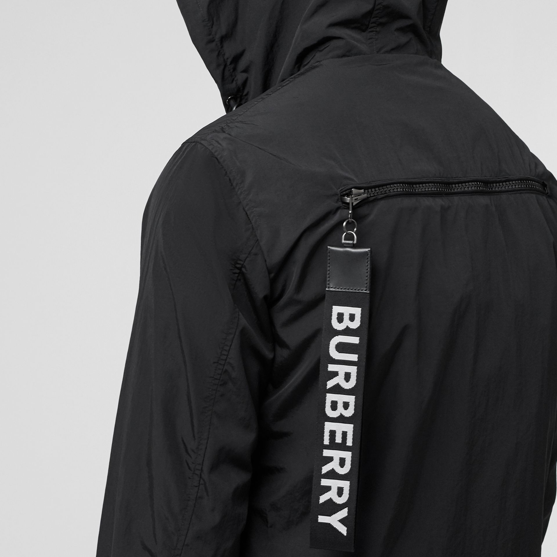 Packaway Lightweight Hooded Jacket in Black - Men | Burberry Australia - gallery image 4