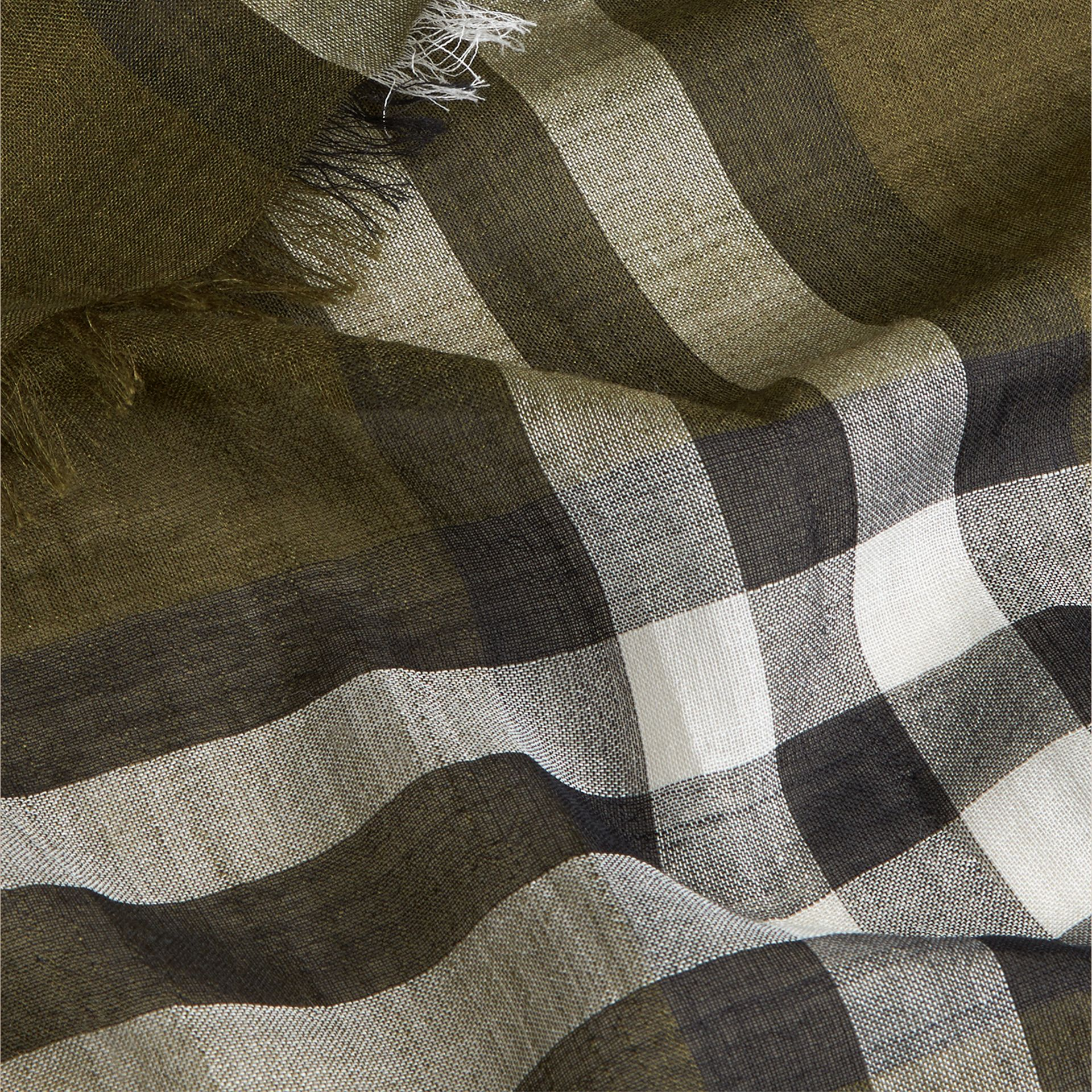 Olive green Lightweight Check Wool and Silk Scarf Olive Green - gallery image 2