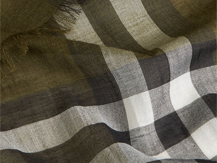 Olive green Lightweight Check Wool and Silk Scarf Olive Green - cell image 1