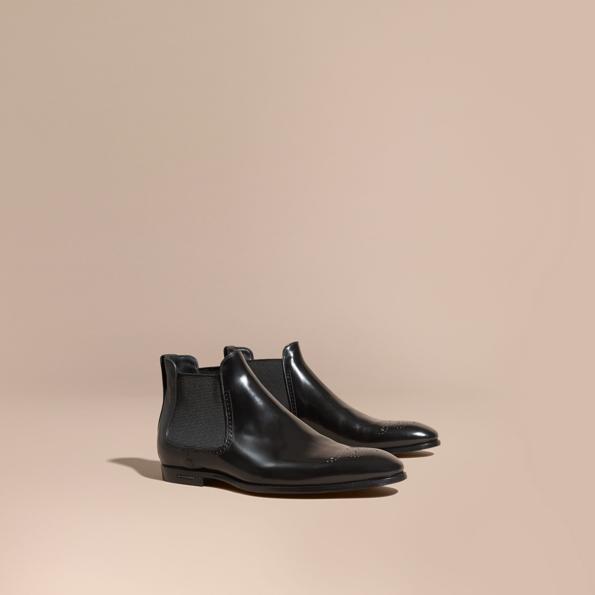 Perforated Detail Leather Chelsea Boots in Black - Men | Burberry - gallery image 1
