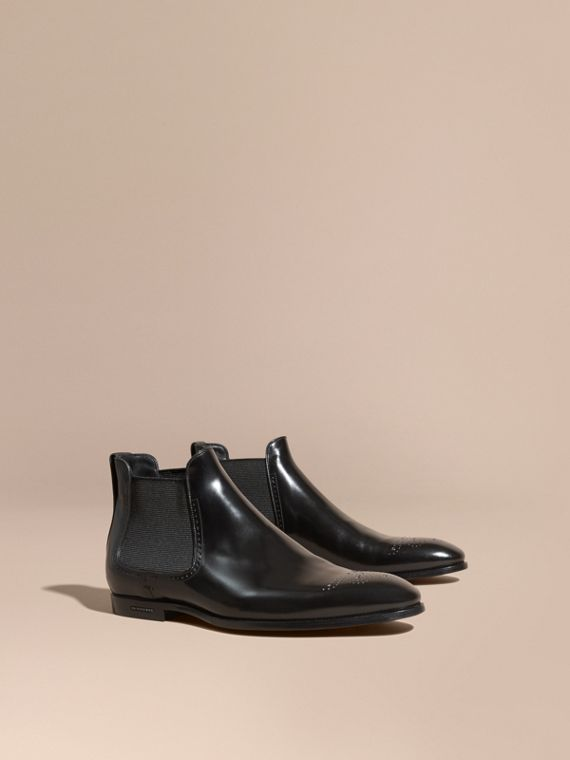 Perforated Detail Leather Chelsea Boots Black