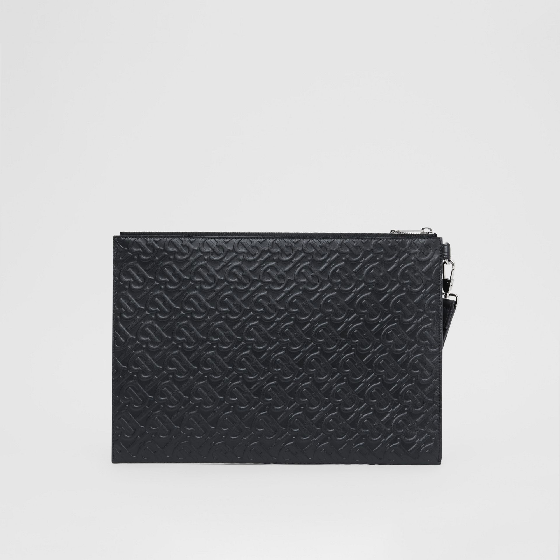 Large Monogram Leather Zip Pouch in Black | Burberry United Kingdom - gallery image 7