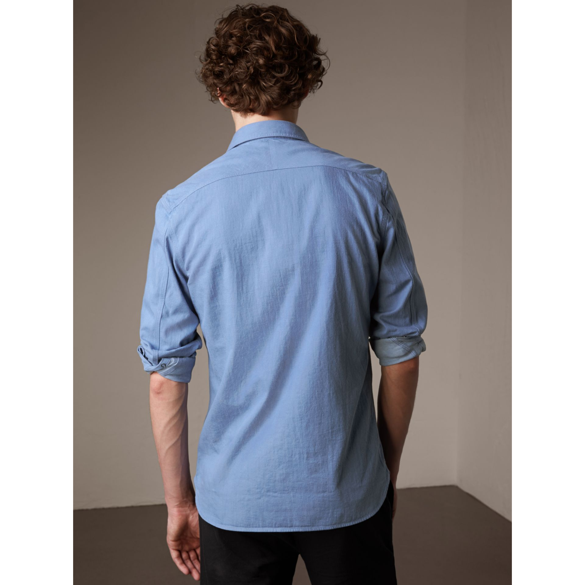 Japanese Denim Shirt in Light Blue - Men | Burberry - gallery image 3