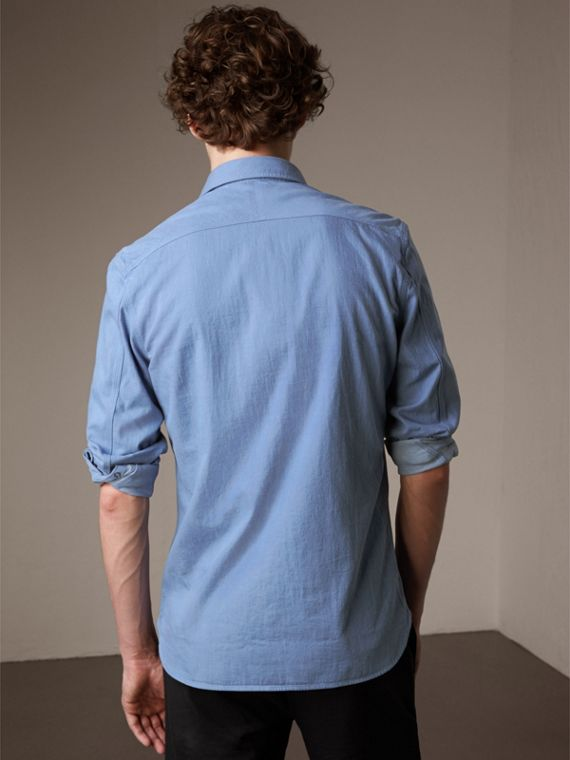 Japanese Denim Shirt in Light Blue - Men | Burberry - cell image 2