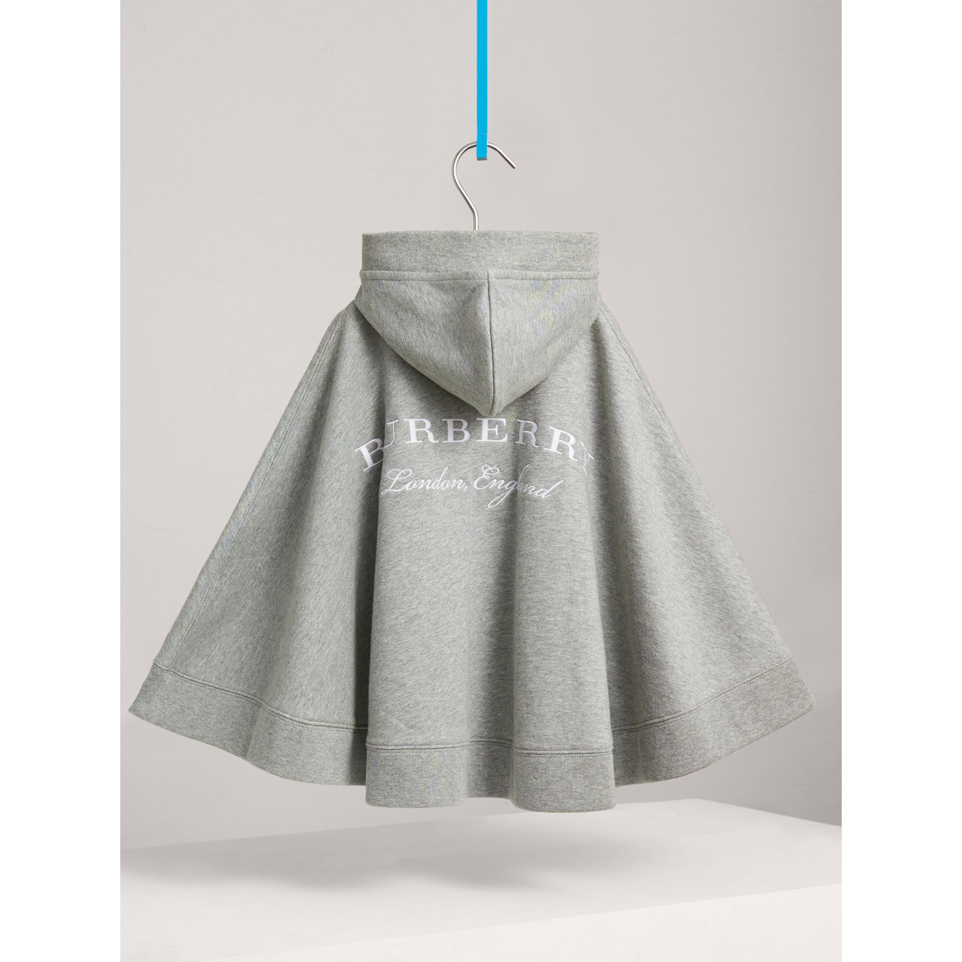 Embroidered Cotton Jersey Hooded Cape in Grey Melange - Girl | Burberry - gallery image 3