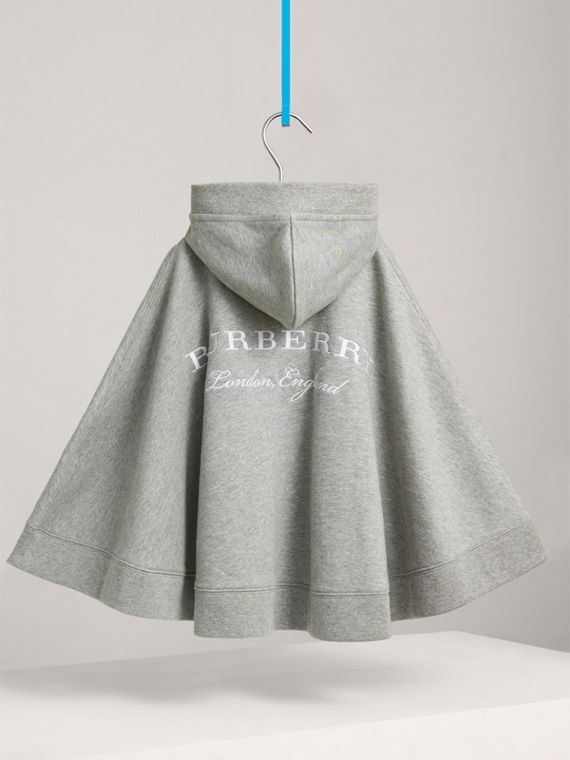 Embroidered Cotton Jersey Hooded Cape in Grey Melange