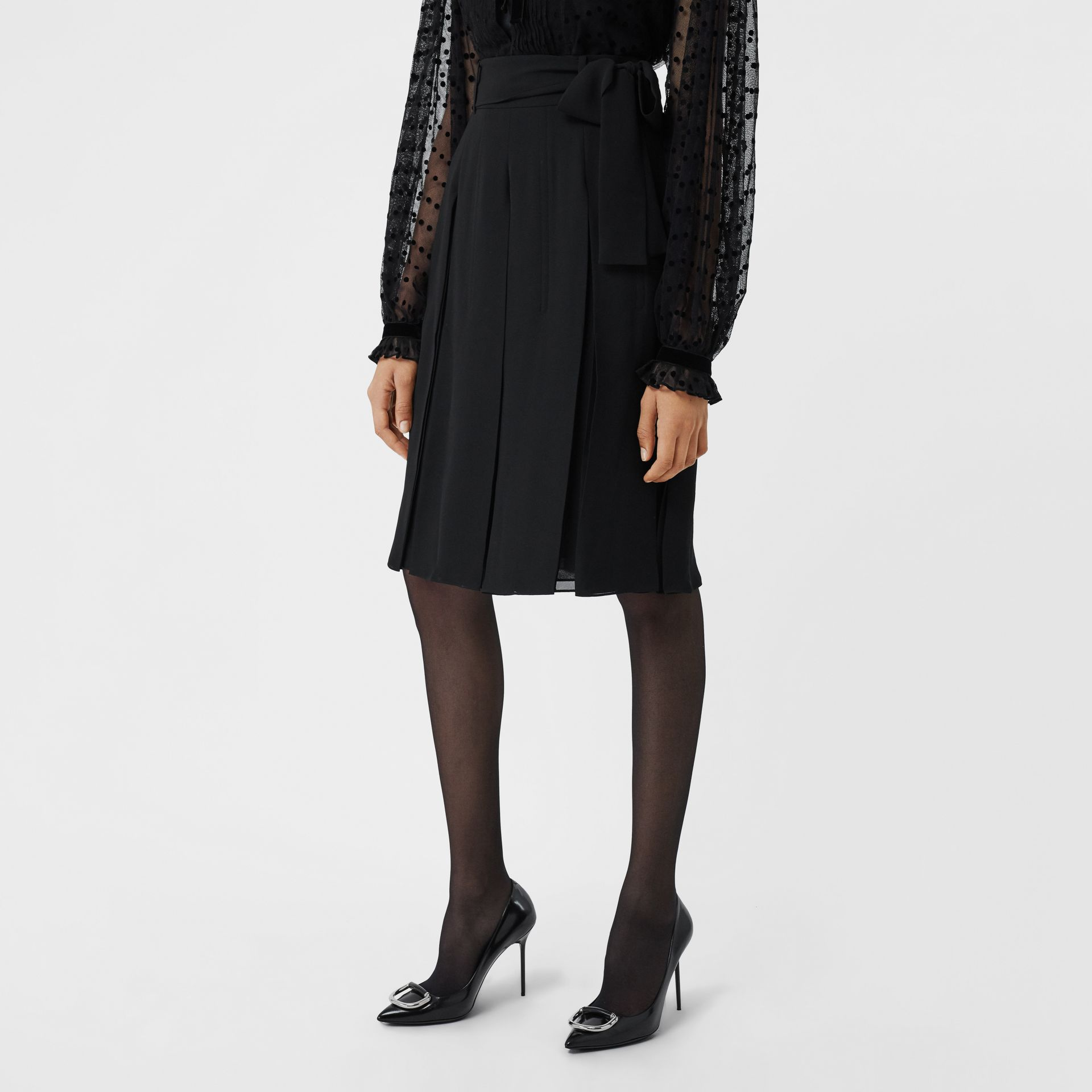 Tie-waist Pleated Georgette Skirt in Black - Women | Burberry - gallery image 4