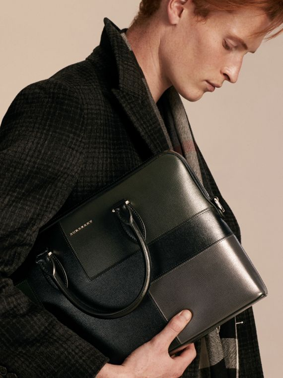 Black The Slim Barrow Bag in Patchwork London Leather Black - cell image 2