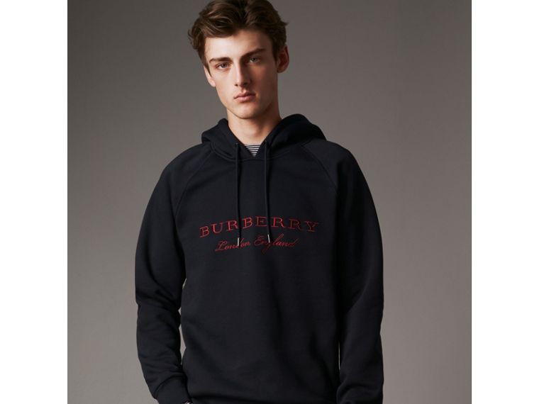 Embroidered Hooded Sweatshirt in Navy - Men | Burberry United Kingdom - cell image 4