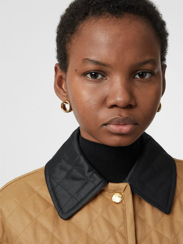 Leather Detail Grommet Earrings in Light Gold/dark Green - Women | Burberry United Kingdom - cell image 2