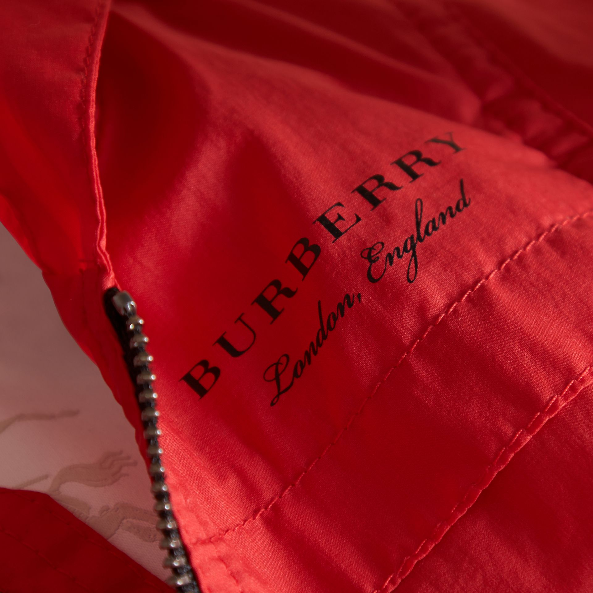 Showerproof Hooded Technical Jacket in Vibrant Red | Burberry - gallery image 2