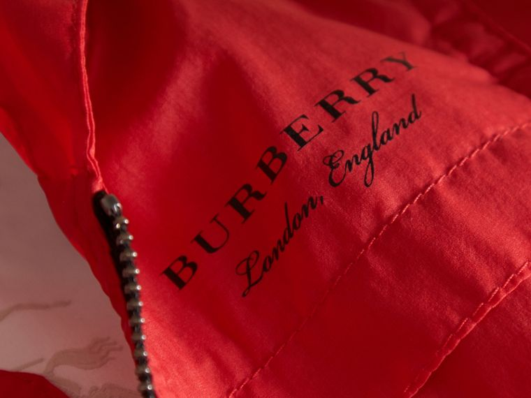 Showerproof Hooded Technical Jacket in Vibrant Red | Burberry - cell image 1
