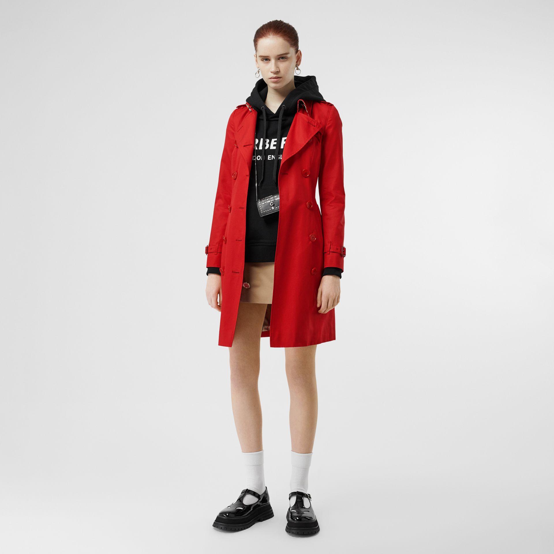Cotton Gabardine Trench Coat in Bright Red - Women | Burberry - gallery image 0