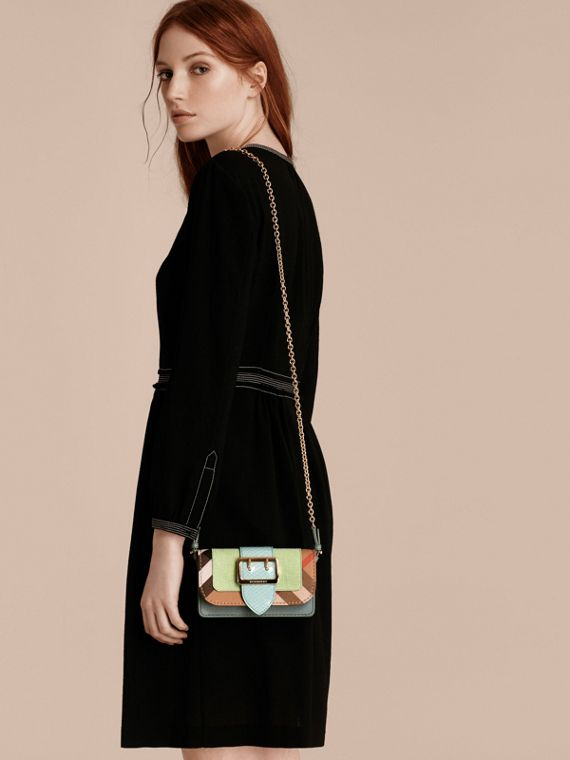 Light mint The Mini Buckle Bag in Snakeskin and House Check - cell image 2