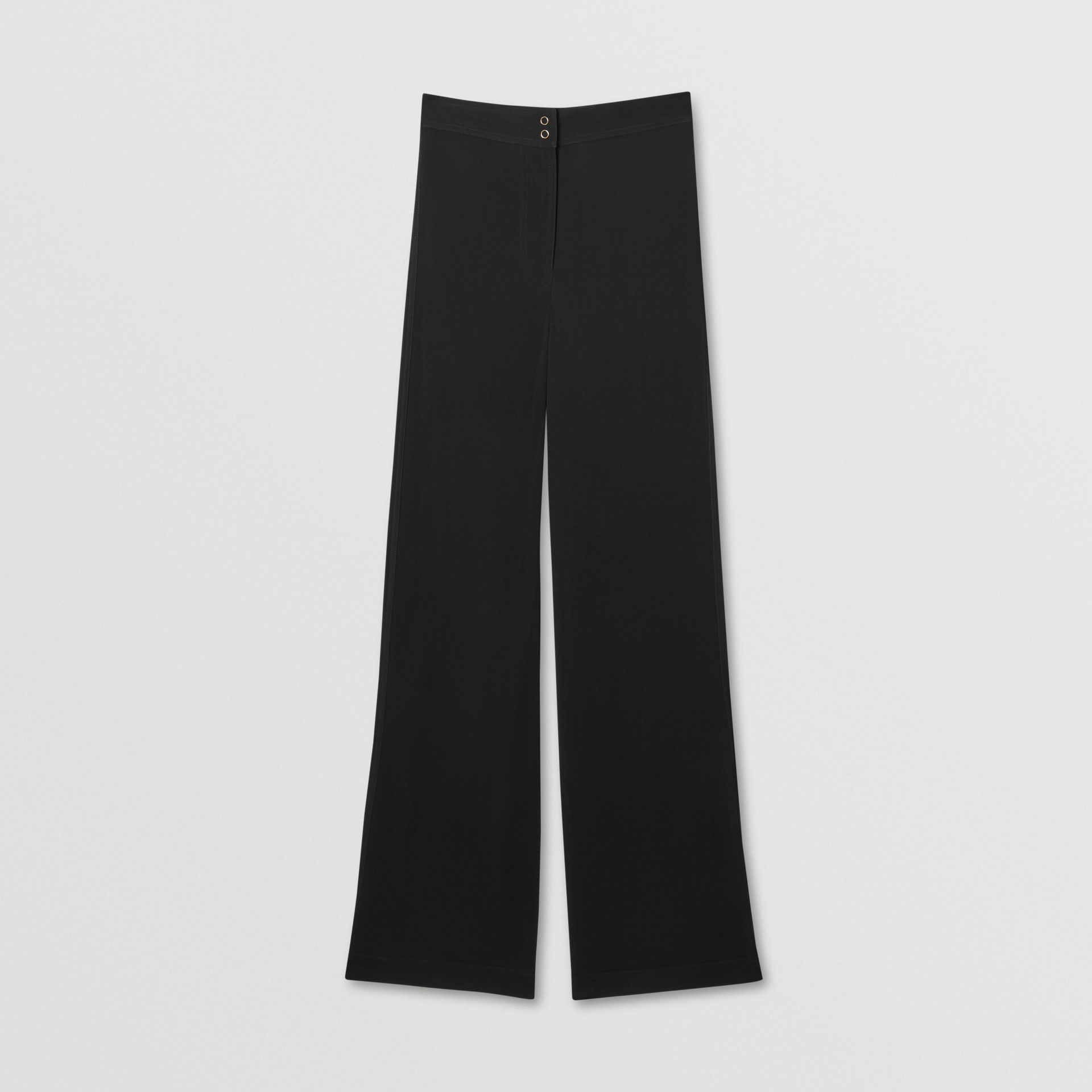 Jersey Wide-leg Trousers in Black - Women | Burberry United Kingdom - gallery image 3