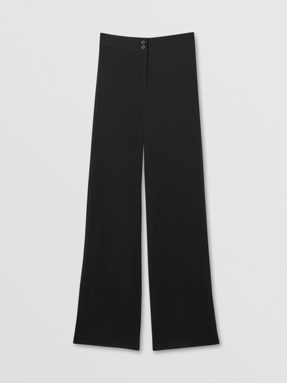 Jersey Wide-leg Trousers in Black