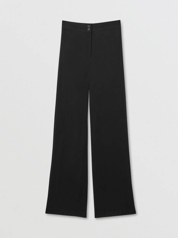Jersey Wide-leg Trousers in Black - Women | Burberry United Kingdom - cell image 3