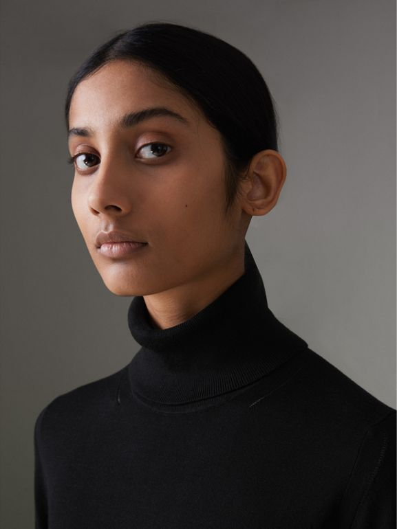 Silk Cashmere Roll-neck Sweater in Black - Women | Burberry - cell image 1