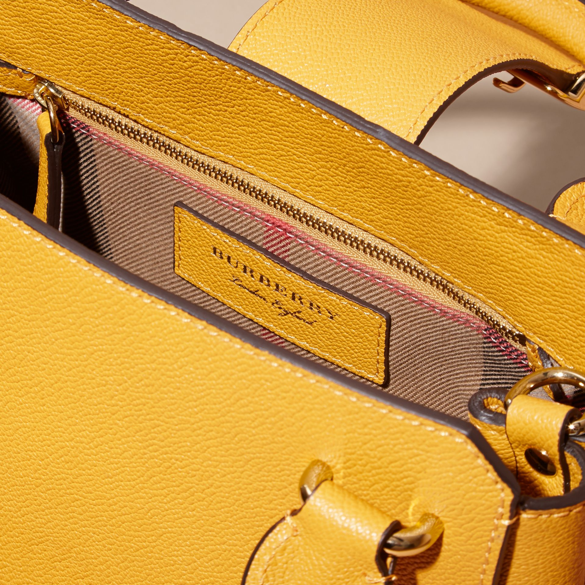 The Small Buckle Tote in Grainy Leather in Bright Straw - Women | Burberry Singapore - gallery image 6