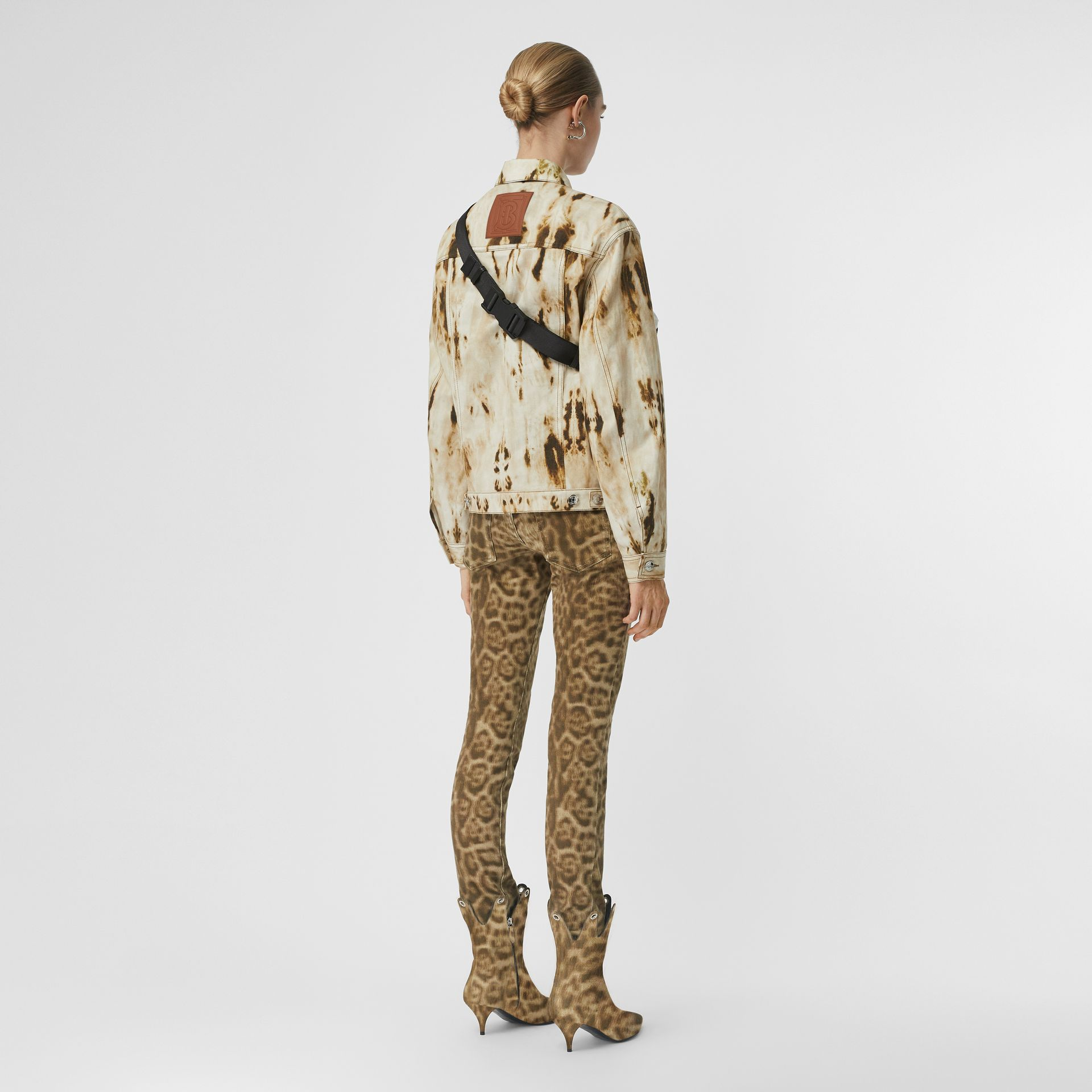 Monogram Motif Bleached Denim Jacket in Honey - Women | Burberry - gallery image 2