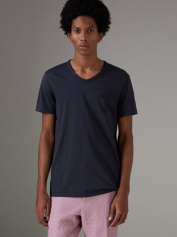 Cotton Jersey T-shirt in Navy
