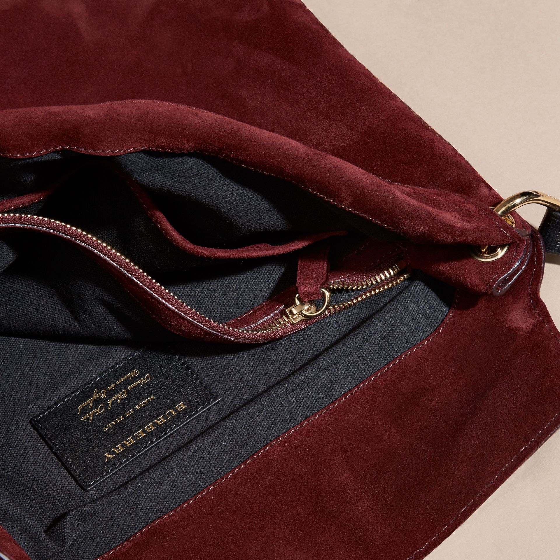 Mahogany red English Suede and House Check Shoulder Bag - gallery image 5