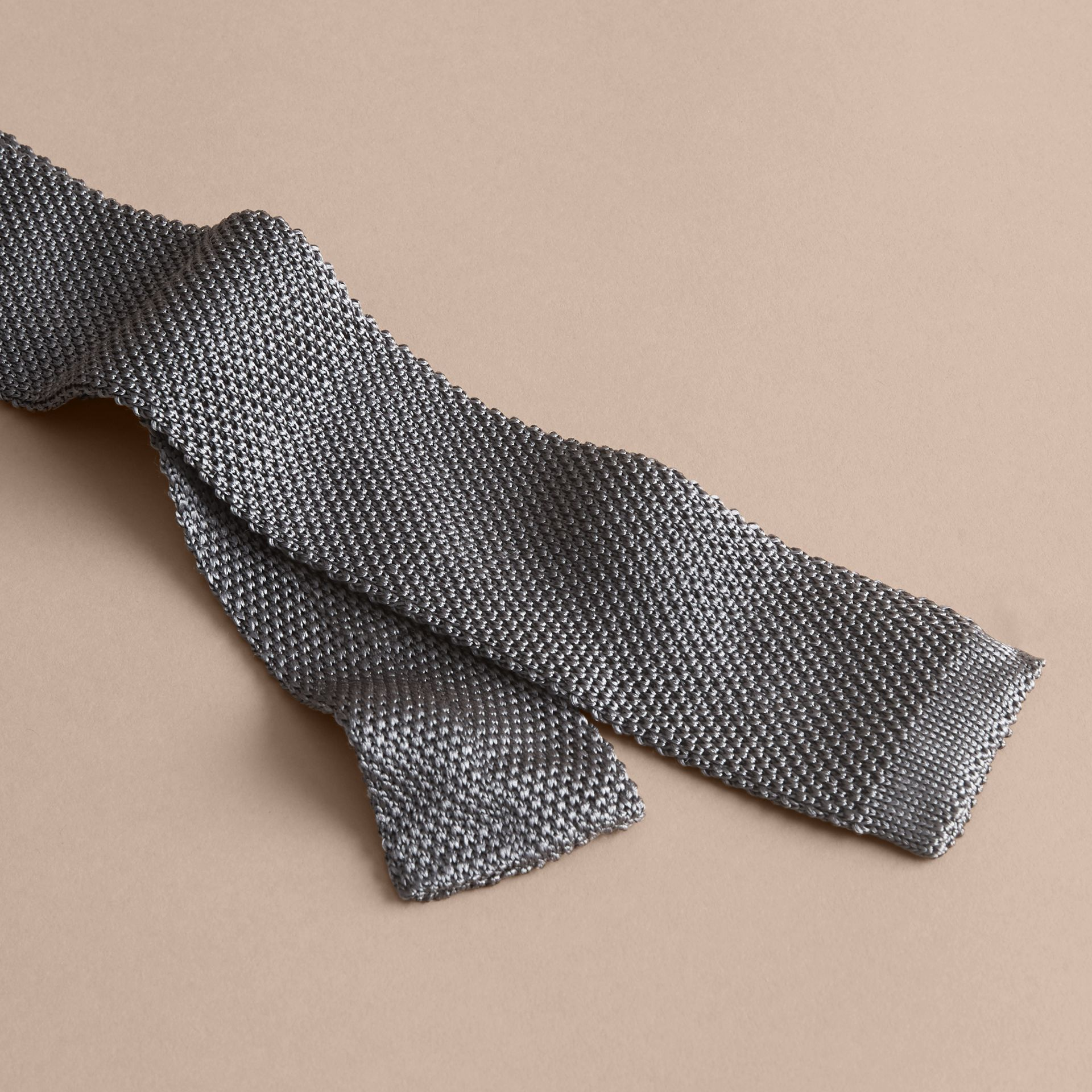 Slim Cut Knitted Silk Tie Mid Grey - gallery image 2