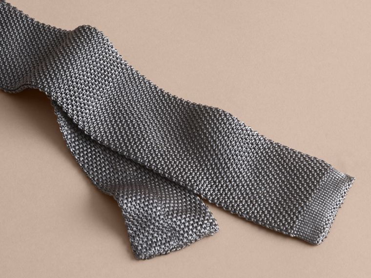 Slim Cut Knitted Silk Tie Mid Grey - cell image 1