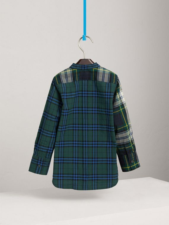Panelled Tartan and Check Cotton Poplin Shirt in Forest Green - Boy | Burberry - cell image 3