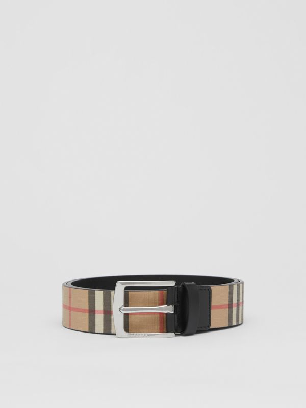 Vintage Check E-canvas and Leather Belt in Archive Beige - Men | Burberry - cell image 3