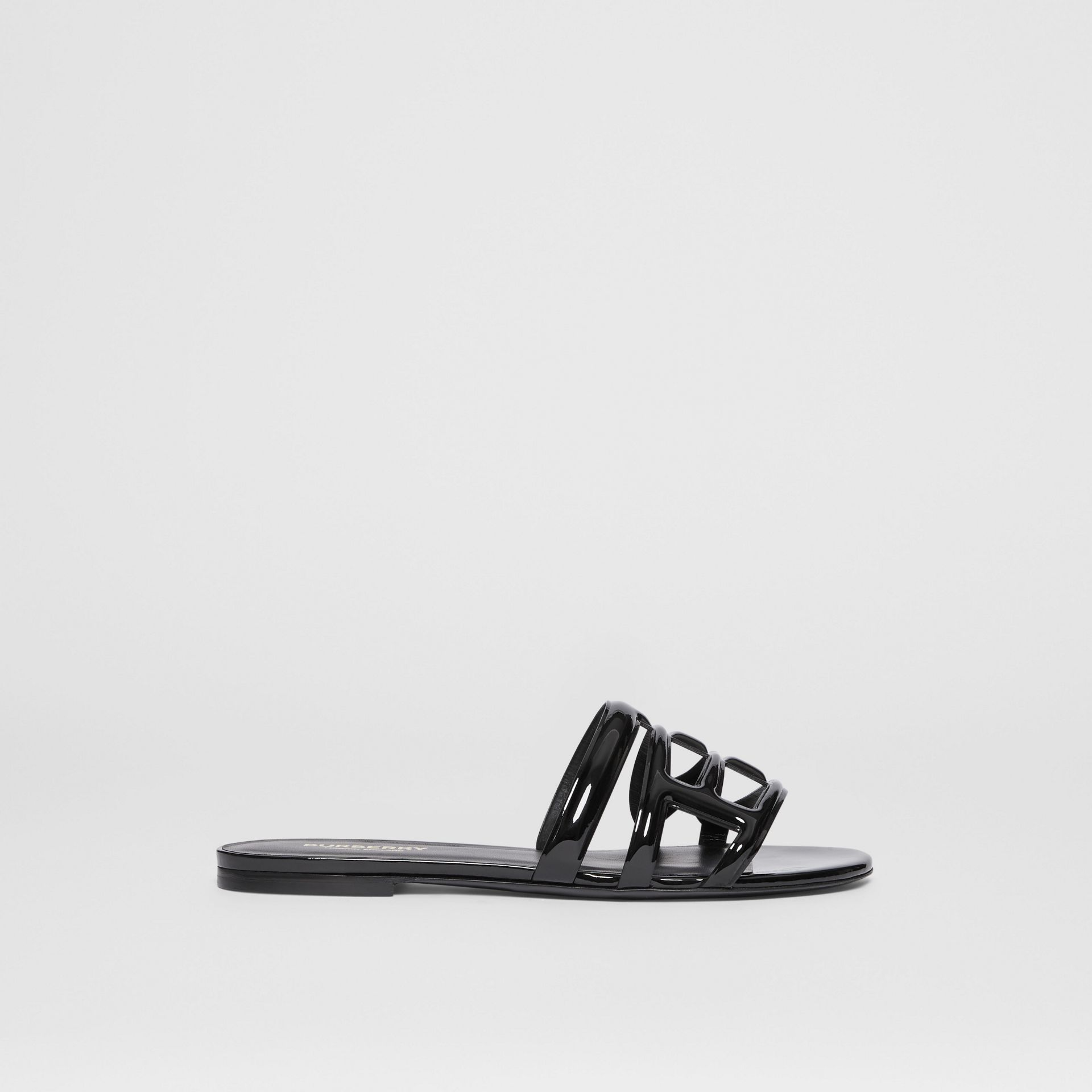 Monogram Motif Patent Leather Sandals in Black - Women | Burberry - gallery image 5