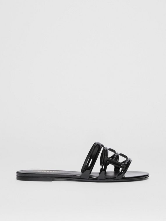 Monogram Motif Patent Leather Sandals in Black