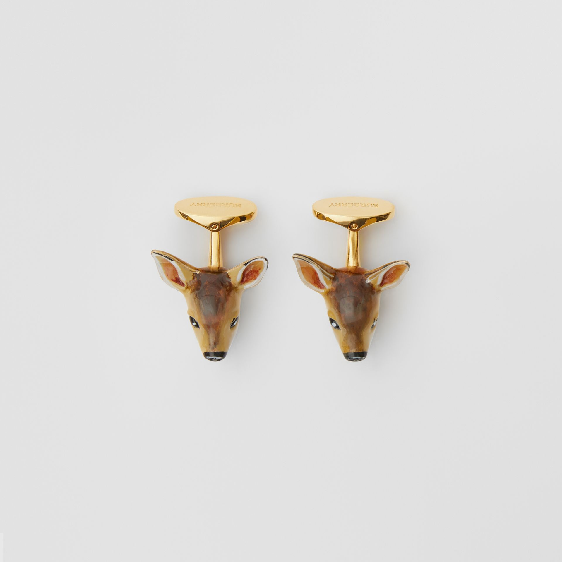 Deer Motif Gold-plated Cufflinks in Brown/white - Men | Burberry United Kingdom - gallery image 2