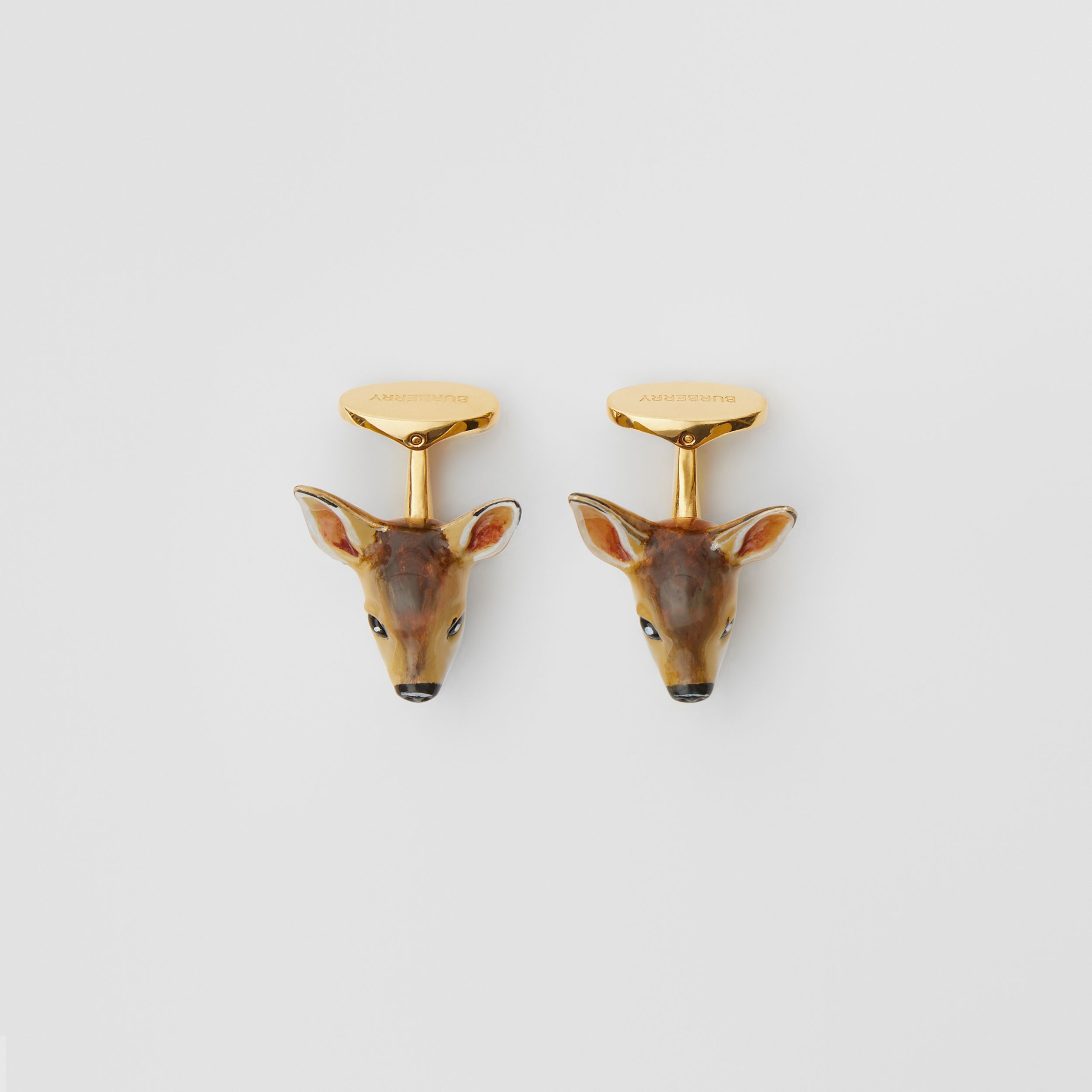 Deer Motif Gold-plated Cufflinks in Brown/white - Men | Burberry - 3