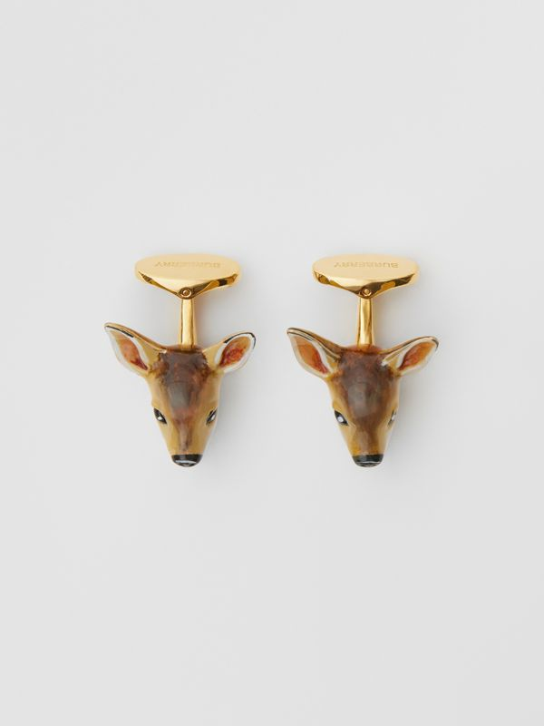Deer Motif Gold-plated Cufflinks in Brown/white - Men | Burberry United Kingdom - cell image 2