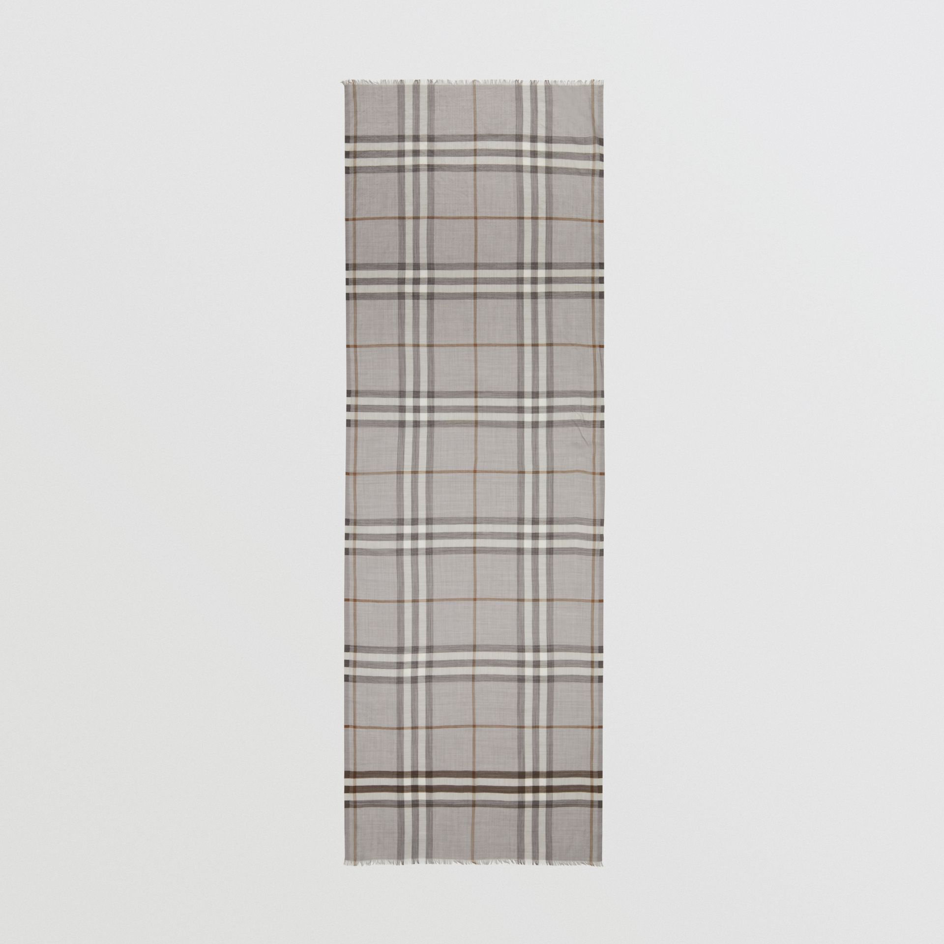 Lightweight Check Wool Silk Scarf in Grey | Burberry - gallery image 5