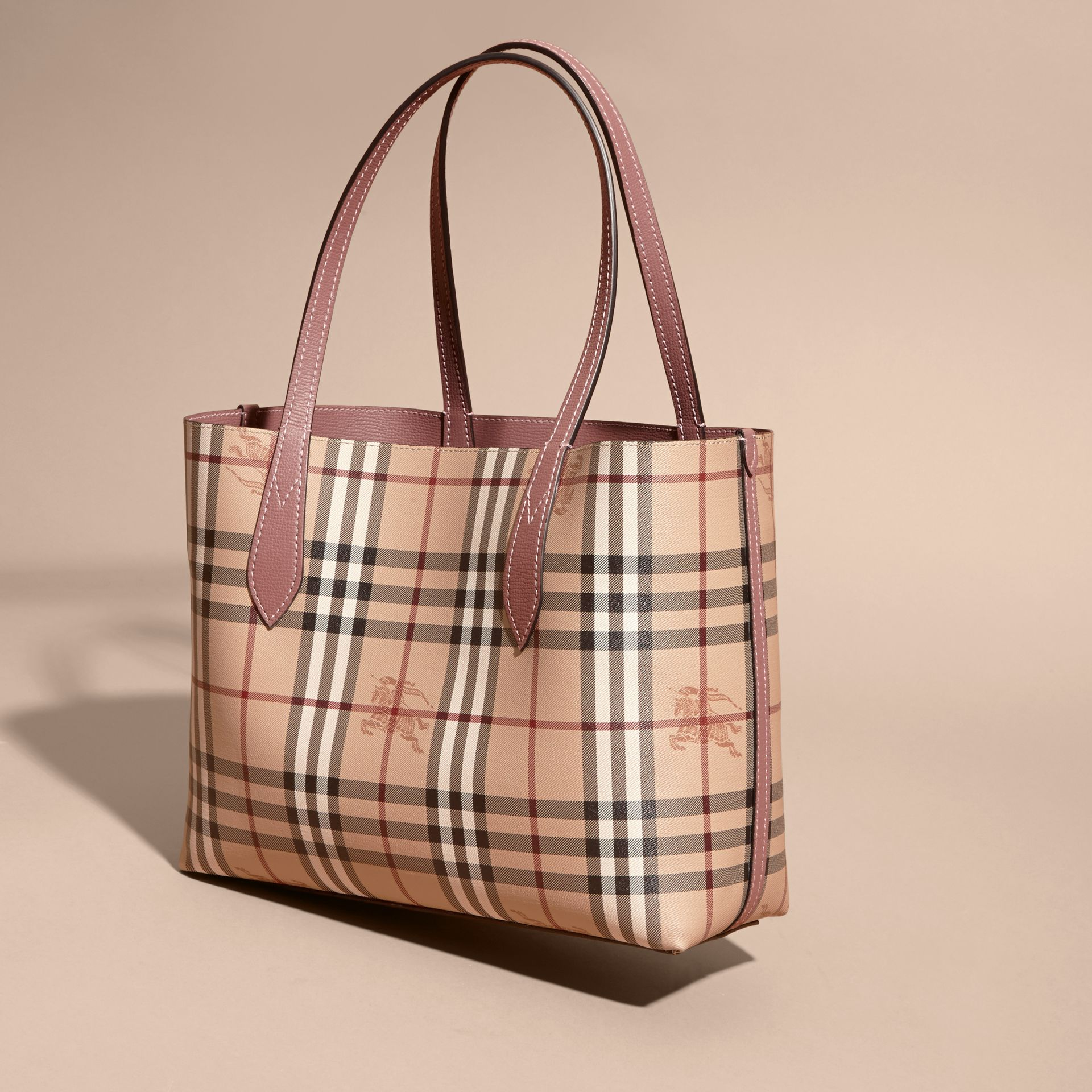 The Small Reversible Tote in Haymarket Check and Leather in Light Elderberry - Women | Burberry - gallery image 8