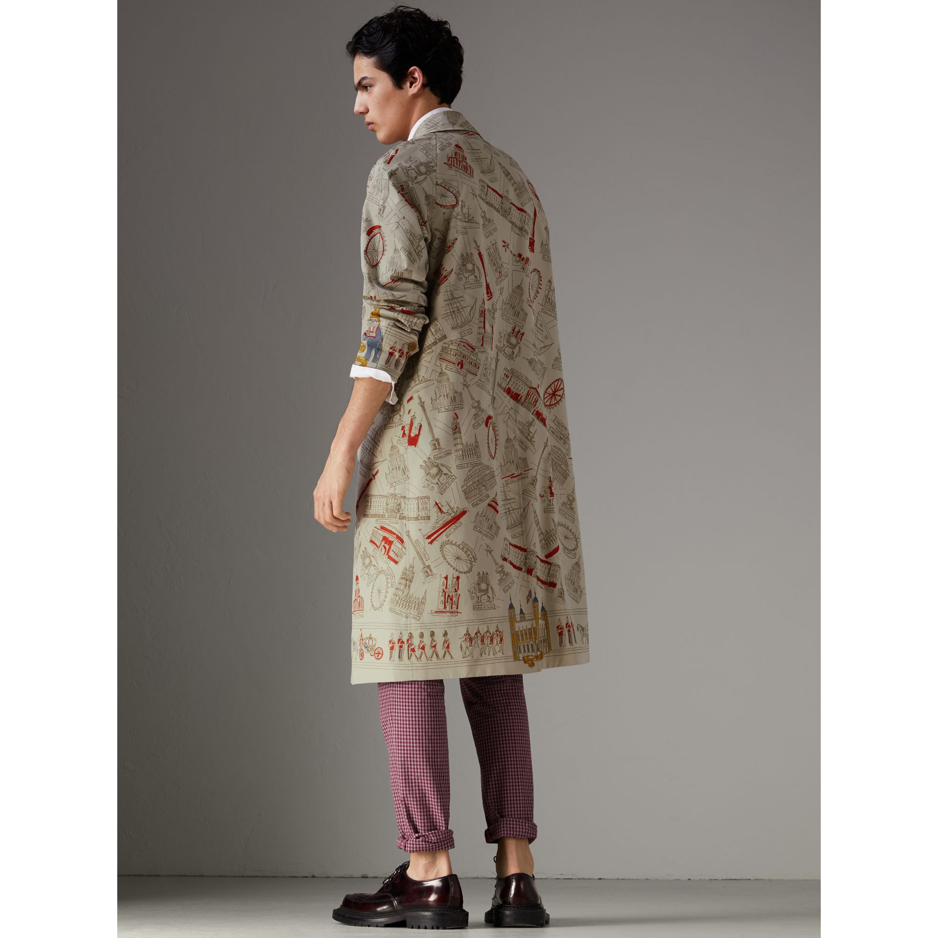 London Sketch Print Car Coat in Stone - Men | Burberry United Kingdom - gallery image 2