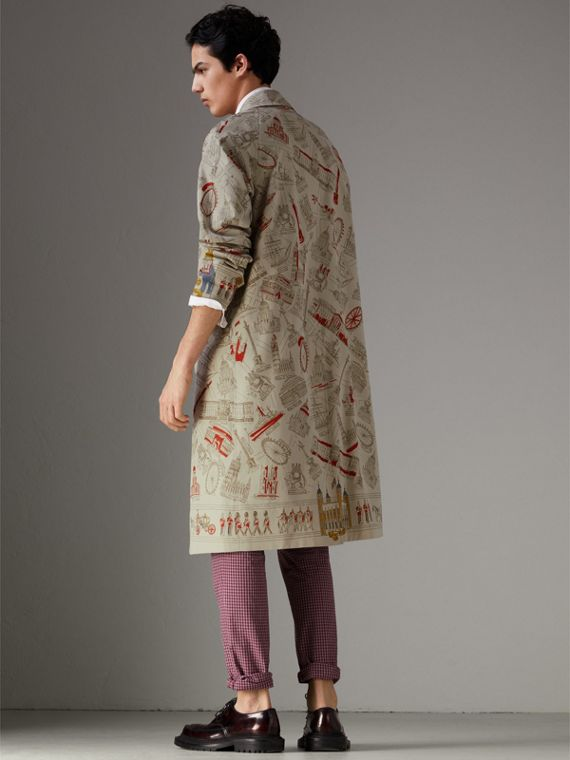 London Sketch Print Car Coat in Stone - Men | Burberry - cell image 2