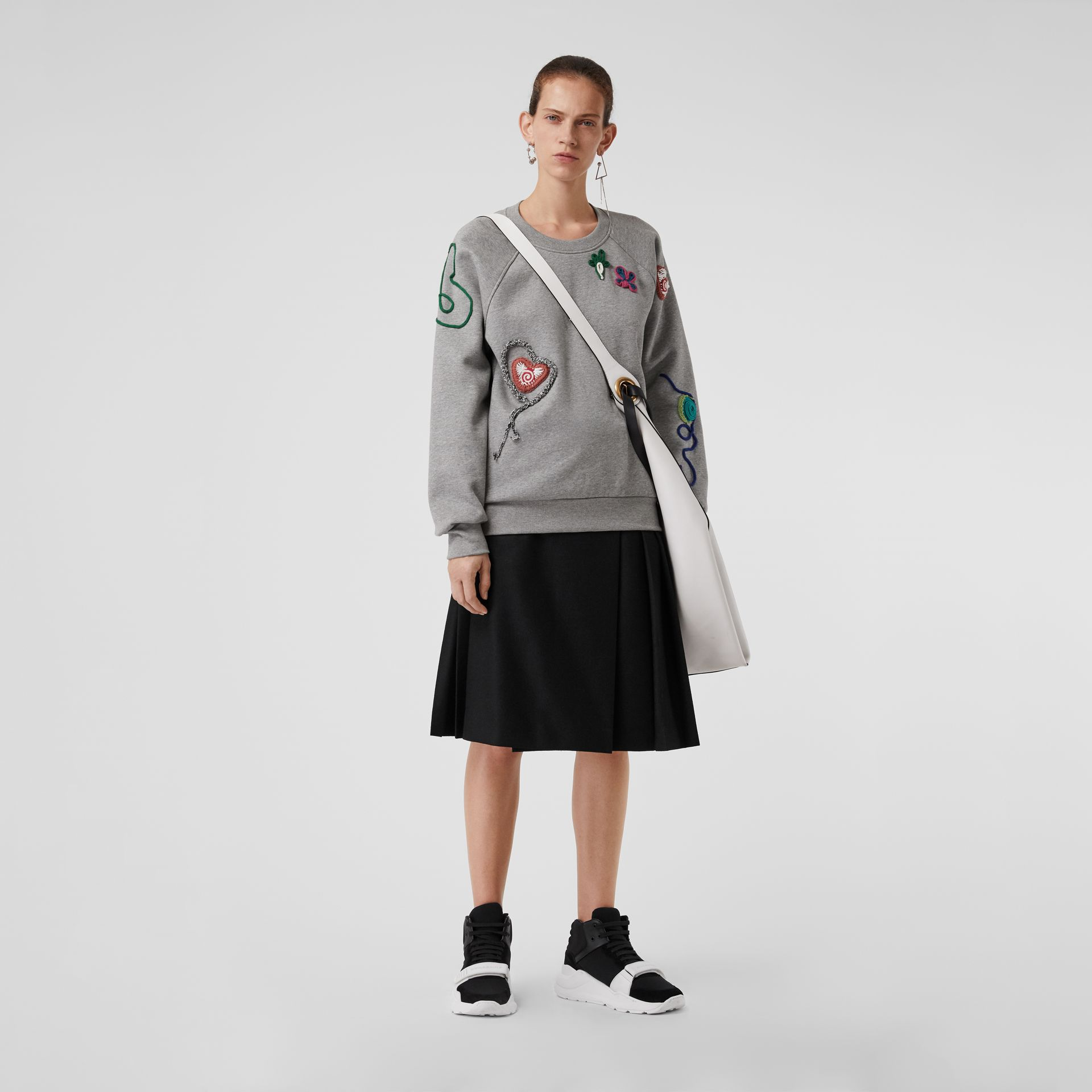 Embellished Jersey Sweatshirt in Pale Grey Melange - Women | Burberry Canada - gallery image 0