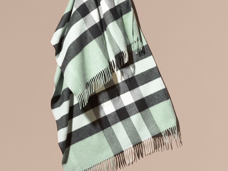 Dusty mint Check Cashmere and Wool Poncho Dusty Mint - cell image 1