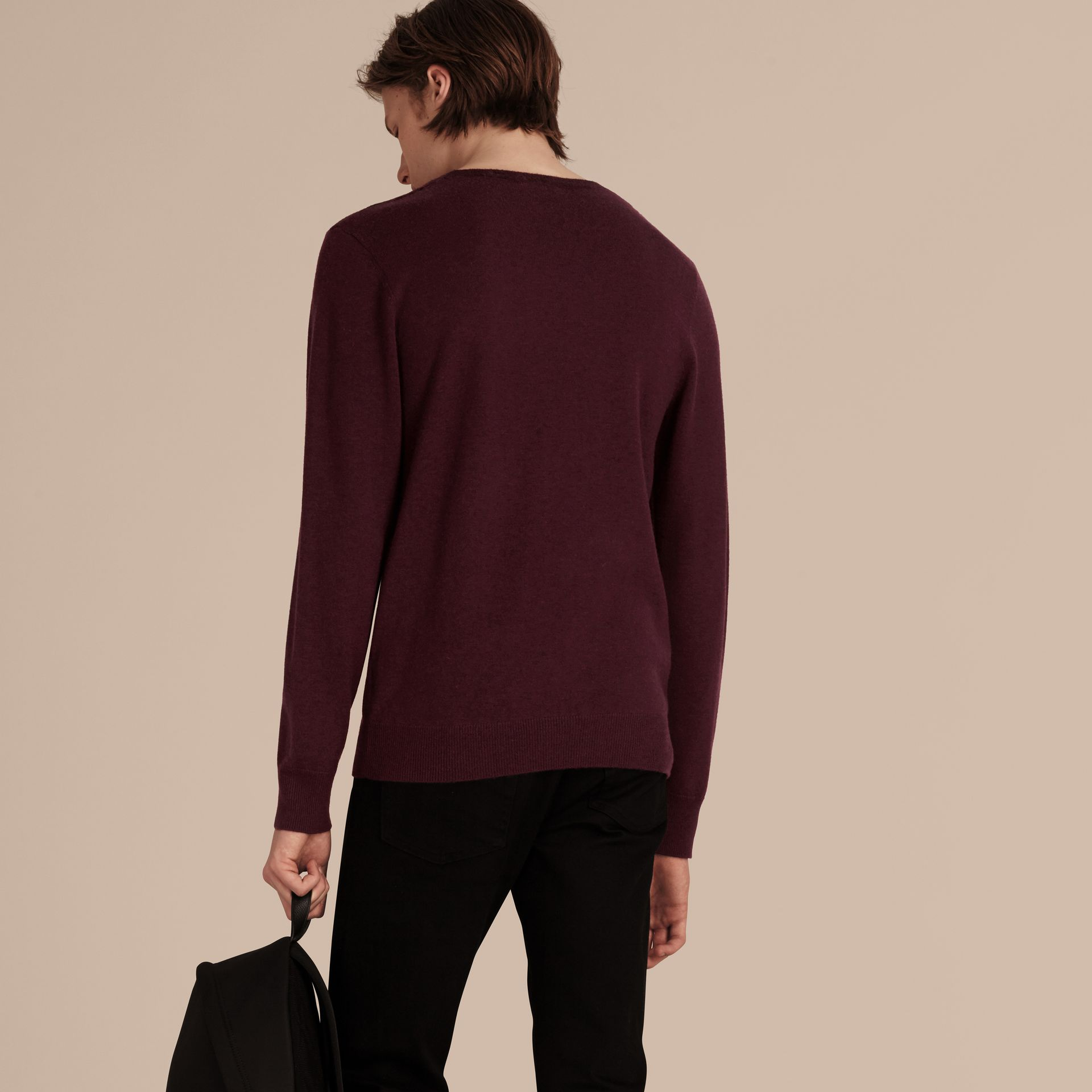 Graphic Check Cashmere Cotton Sweater in Burgundy Red - gallery image 3