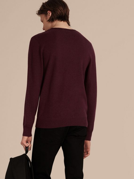 Graphic Check Cashmere Cotton Sweater in Burgundy Red - cell image 2
