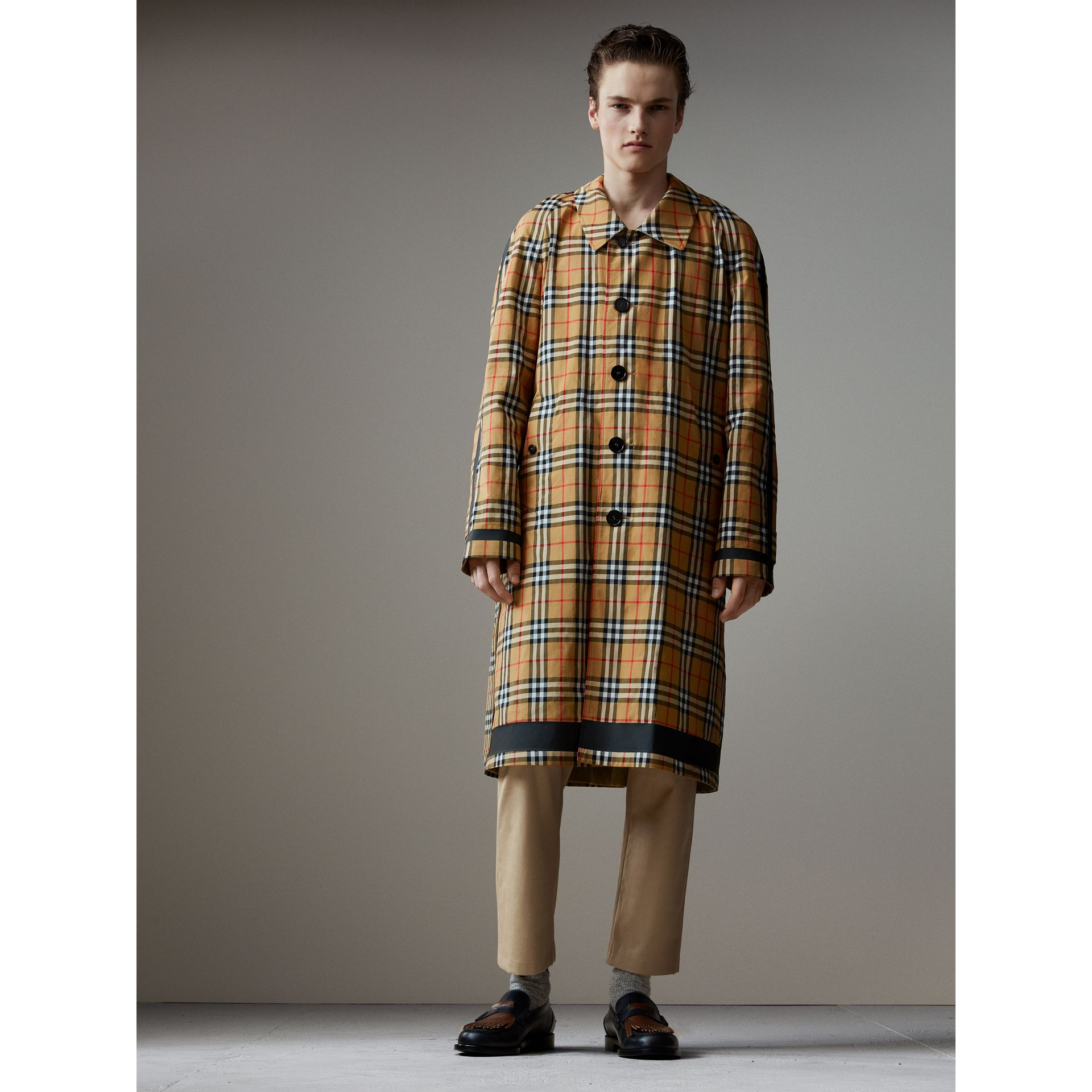 Reversible Vintage Check Gabardine Car Coat in Antique Yellow - Men | Burberry United States - gallery image 1