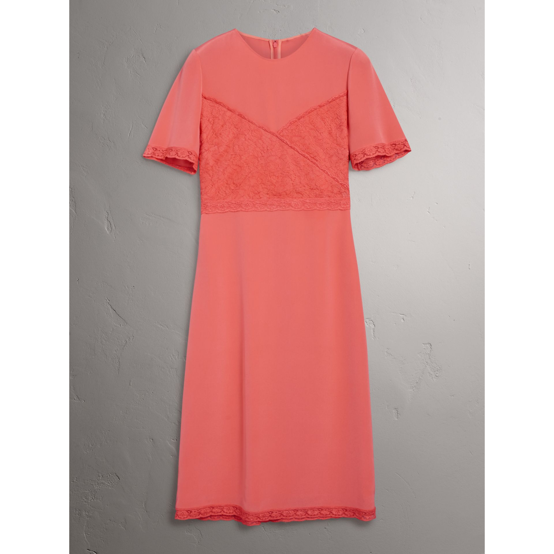 Chantilly Lace Detail Silk Crepe Marocain Dress in Coral Red - Women | Burberry United States - gallery image 3