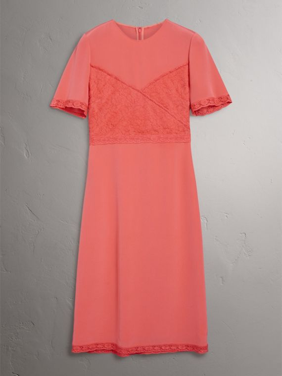 Chantilly Lace Detail Silk Crepe Marocain Dress in Coral Red - Women | Burberry - cell image 3