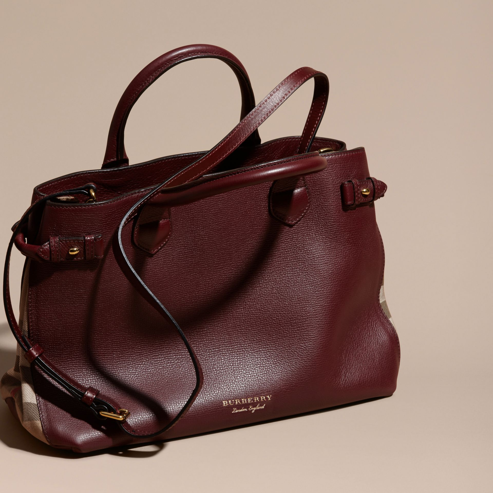 The Medium Banner in Leather and House Check in Mahogany Red - Women | Burberry - gallery image 7