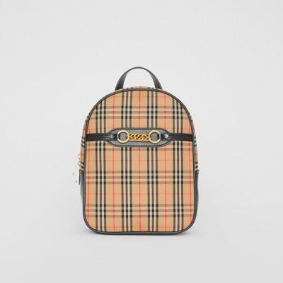 Link Vintage Check Canvas Backpack in Black